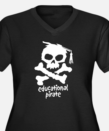 Educational Pirate Women's Plus Size V-Neck Dark T