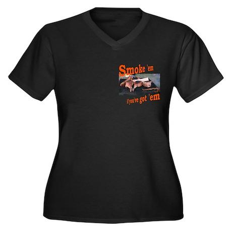 Smoke 'em Women's Plus Size V-Neck Dark T-Shirt