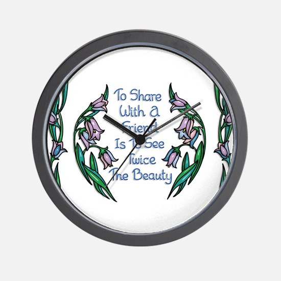 Sharing With a Friend Flower Frame Wall Clock