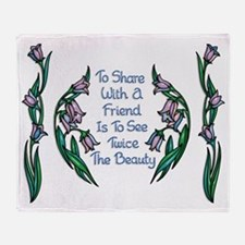 Sharing With a Friend Flower Frame Throw Blanket