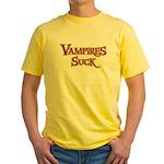 Vampires Suck Halloween costu Yellow T-Shirt