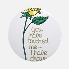 Single Yellow Rose with Sentiment Round Ornament
