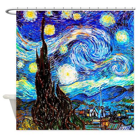 Charming Starry Night Van Gogh Shower Curtain