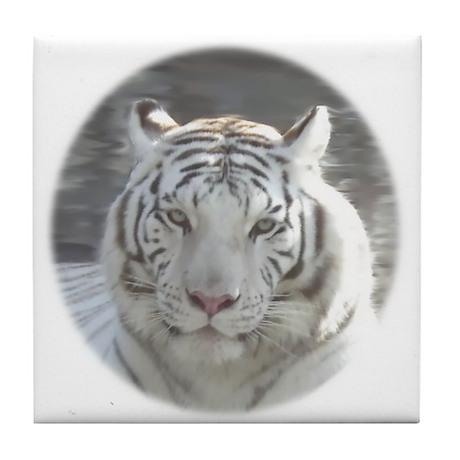 Royal White Tiger Tile Coaster