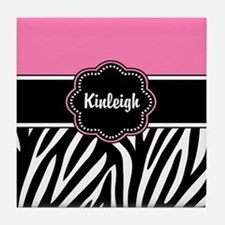 Pink Zebra Print Personalized Tile Coaster
