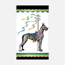 Great Dane Black Carousel Rectangle Decal