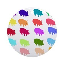 Rainbow Pigs Ornament (Round)