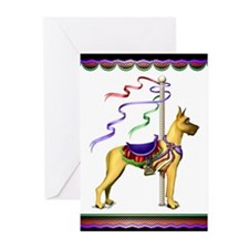 Great Dane Fawn Carousel Greeting Cards (Package o
