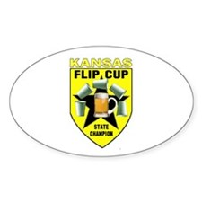 Kansas Flip Cup State Champio Oval Decal