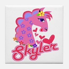 Skyler Loves Ponies Tile Coaster