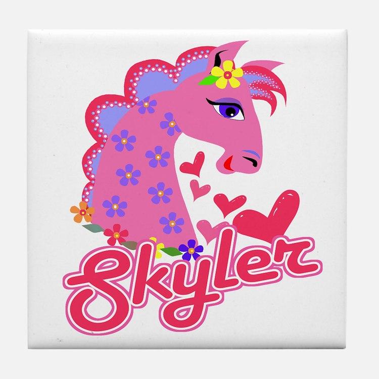 Skyler Loves Ponies Tile Coaster