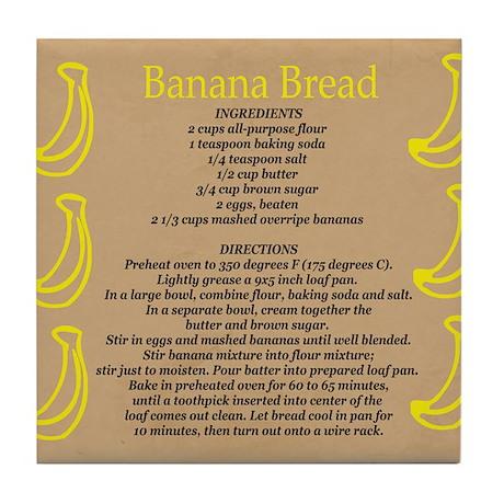 Banana Bread Recipe Tile Coaster