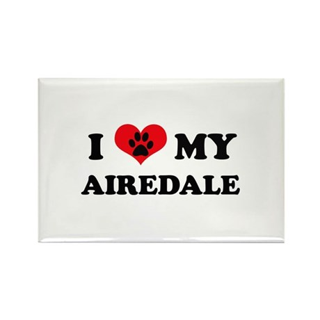 I Love My Airedale - Dog Bree Rectangle Magnet