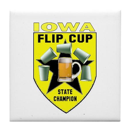 Iowa Flip Cup State Champion Tile Coaster