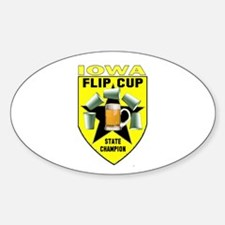 Iowa Flip Cup State Champion Oval Decal