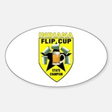 Indiana Flip Cup State Champi Oval Decal