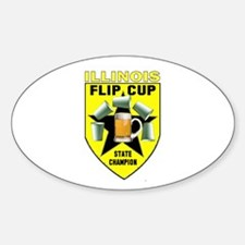 Illinois Flip Cup State Champ Oval Decal