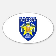 Hawaii Flip Cup State Champio Oval Decal