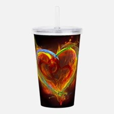 Two Hearts Burning Des Acrylic Double-wall Tumbler