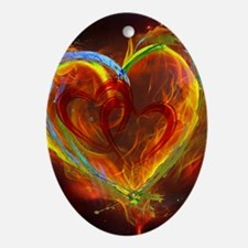 Two Hearts Burning Desire Oval Ornament