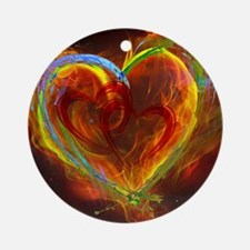 Two Hearts Burning Desire Round Ornament