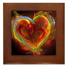 Two Hearts Burning Desire Framed Tile