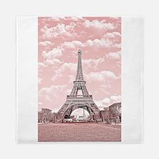 Eiffel Tower in pink, Paris, France Queen Duvet