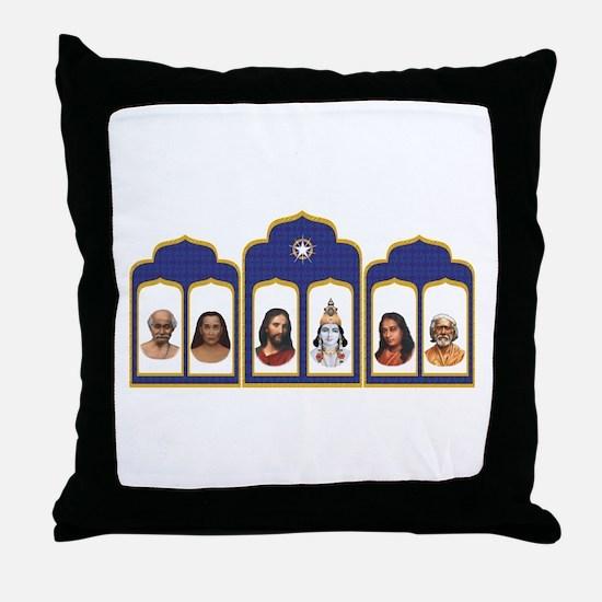 Standard Altar with 6 Gurus Throw Pillow