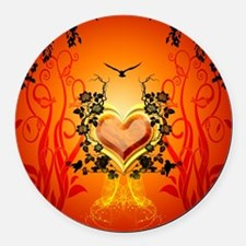 Awesome hearts Round Car Magnet