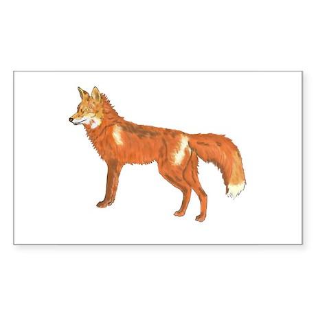 Red Fox Rectangle Sticker