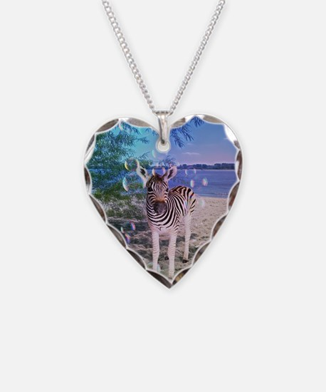 Cute Zebra Necklace Heart Charm