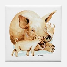 Pig and Piglet Tile Coaster