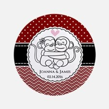 "Personalized Monkey Couple 3.5"" Button (100 pack)"