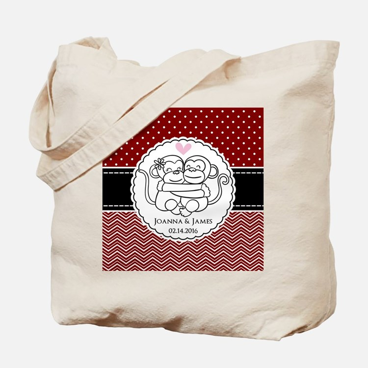 Personalized Monkey Couple Red Chevron Do Tote Bag