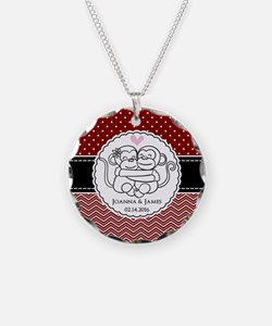 Personalized Monkey Couple R Necklace