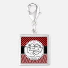 Personalized Monkey Couple Re Silver Square Charm