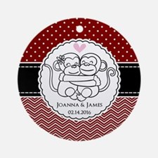Personalized Monkey Couple Red Chev Round Ornament