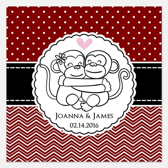 Personalized Monkey Couple 5.25 x 5.25 Flat Cards