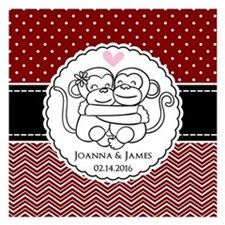 Personalized Monkey Couple Invitations