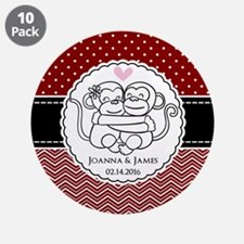 "Personalized Monkey Couple R 3.5"" Button (10 pack)"