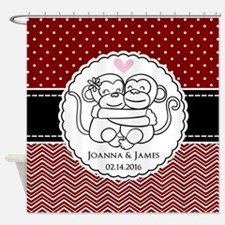Personalized Monkey Couple Red Chev Shower Curtain