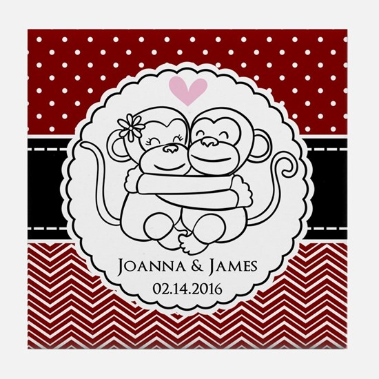 Personalized Monkey Couple Red Chevro Tile Coaster