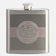 Gray Pink Chevron Dots Monkey Personalized Flask