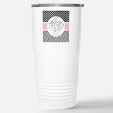 Gray Pink Chevron Dots Travel Mug