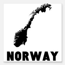 "Norway Silhouette Square Car Magnet 3"" x 3"""