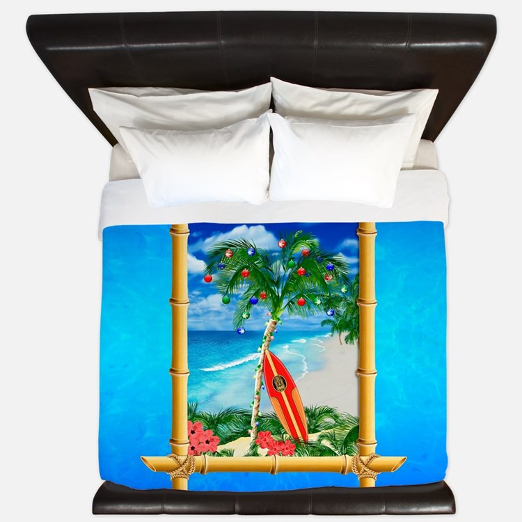 Beach Christmas Ocean Blue King Duvet