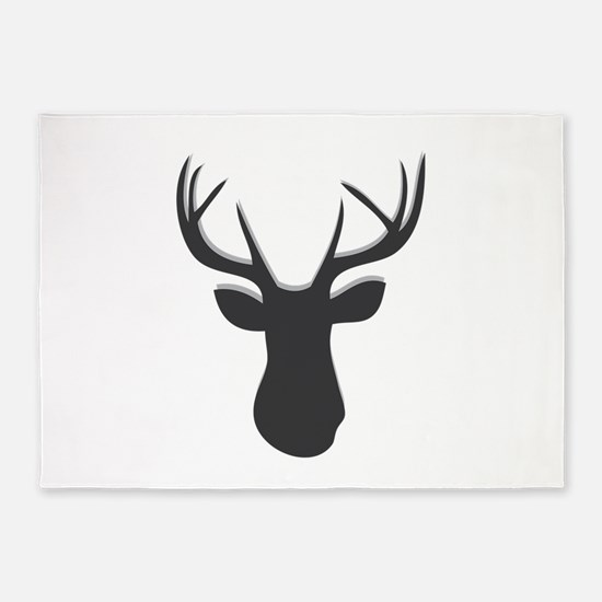 Deer Head 5'x7'Area Rug