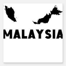 "Malaysia Silhouette Square Car Magnet 3"" x 3"""
