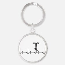 Bike Heartbeat Round Keychain