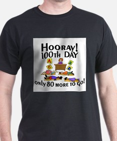 Cute 100th day of school hooray only 80 more days to go T-Shirt